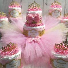 Pink & Gold Princess Tutu Diaper Cake Centerpiece Set