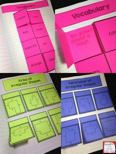 Area and Perimeter Interactive Notebook with 15 hand-on activities! by evelyn