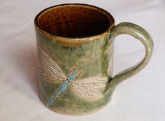 Stoneware Large Coffee MUG Dragonfly Design in by LisaMelitaArt, $23.00