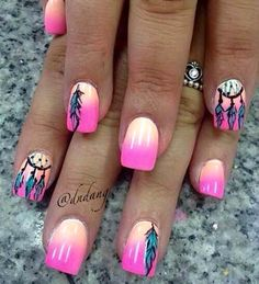 Pink dream Catcher nails