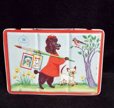 Vintage Tin Litho Paint Tin Poodle Dog Artist by cookiecuttercat