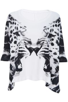 Twin Tigers' Head Printed white T-shirt