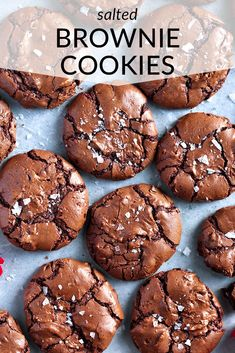 The BEST salted brownie cookies! With shiny, crackled tops and rich, fudgy centers, these are the ultimate brownie cookies for chocolate lovers. Cake Mix Cookie Recipes, Sugar Cookies Recipe, Yummy Cookies, Santa Cookies, Home Made Cookies Recipe, Baking Cookies, Almond Cookies, Easy Brownie Recipes, Simple Cookie Recipes