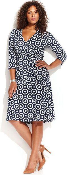 Plus Size Printed Faux-Wrap Dress #plus #size #fashion