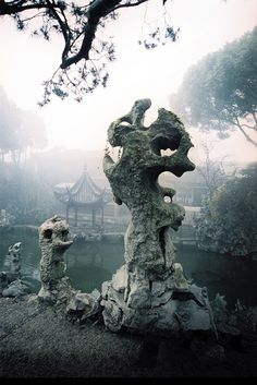 Suzhou (We saw these amazing rock sculptures in China. Ancient Chinese Architecture, Cultural Architecture, Architecture Plan, Chinese Landscape, Chinese Garden, Landscape Design, Garden Design, Natural Structures, Famous Gardens