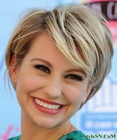 GROWN OUT PIXIE..You can go even shorter with more of a pixie-like style. Thick, side swept bangs look great with this style!