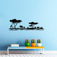 Dear Buyers, Welcome to our shop TrendyWallDecals!  Safari Wall Decal Vinyl Sticker Decals Art Home Decor Mural African Safari Tree Animals Kids Children Nursery Bathroom Sahari Africa