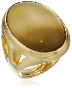 Kenneth Jay Lane Polished Gold Open Sides Flawed Tiger Eye Center Ring. Ring adjusts between sizes 5-7. Made in United States. tigers-eye ring. Made in USA.
