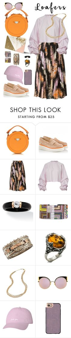 """""""Loafer Contest"""" by petalp ❤ liked on Polyvore featuring Carven, Palomitas by Paloma Barceló, Emilio Pucci, Julie Rofman, Olivia Collings Antique Jewelry, Jennifer Zeuner, Fendi, Casetify, outfit and loafers"""