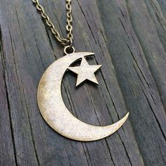 Brass Crescent Moon and Star Necklace by ZenLunaticNYC on Etsy