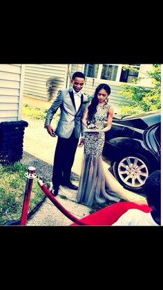Gorgeous gray sparkly prom dress