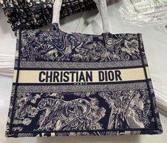 Dior book tote new tiger embroidered bag blue large 41cm Dior Bags, Embroidered Bag, Blue Bags, Christian Dior, Chanel, Tote Bag, Book, Fashion, Dior Handbags