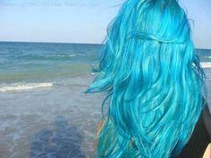 blue hair - mermaid on the shore