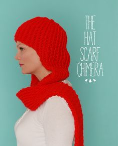 the knit hat/scarf chimera: a perfect hybrid to keep warm during the polar vortex. easy to knit pattern on the blog.