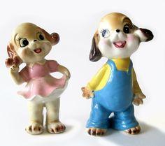 Vintage Dog Figurines - Anthropomorphic Boy and Girl. $16.00, via Etsy.