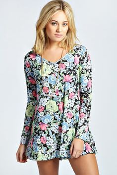 Lilly Long Sleeved Swing Playsuit In Floral Print at boohoo.com