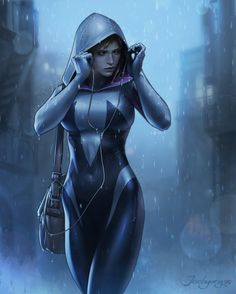 The art of jeehyung source...  The art of jeehyung  source :http://ift.tt/1ThG1YS  tags : digital painting digital spidergwen spiderman spiderverse fanart art arte girl sexy pinup pinterest