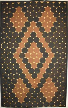 Very stylish and unusual - a starkly colored black and camel Penny Mat configured as a large center diamond with two smaller diamonds flanking it at top and bottom. Discs sewn onto heavy weight cotton. now mounted for display either vertically or horizont Wool Embroidery, Wool Applique, Polka Dot, Dots, Penny Rugs, Pennies, Rug Hooking, Textile Art, Wool Rug