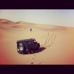Morocco Land Rover Defender pulling clear