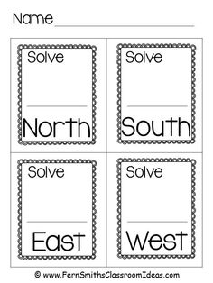 #FreebieFriday Task Card Answer Sheet / Exit Cards using my Directional Cards for your classroom room, North, South, East and West. Including a Brain Break idea for task cards of all subjects! #FREE