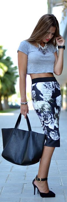 Love the floral pencil skirt,