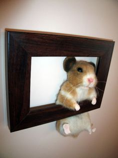 Needle-Felted-Hamster-in-a-Frame-Bear-Sculpt