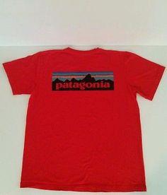 Patagonia P6 Logo T shirt  100% Organic Cotton Outdoors red MEDIUM