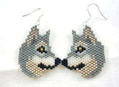 Wolf Beaded Earrings. $14.50, via Etsy.