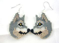 Wolf Beaded Earrings. $14.50, via Etsy.