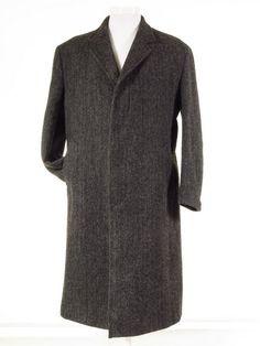 Harris Tweed overcoat long wool coat L / 44S - Tweedmans Vintage
