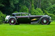 1932 Bucciali TAV 12. Coachwork by Saoutchik  the rare 1932 Bucciali (only 5 made in the world) was built by a French World War I pilot. The flying stork on the side of the automobile was the emblem of his squadron and it was painted on their bi-wing fighter aircraft.