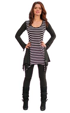 long sleeve tunic with strips
