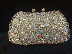 Designer Luxury Bridal Clutch Sparkly Floral Purse Evening Party Bag-3