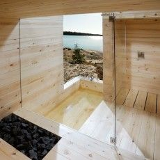 Kyly is a massive wood sauna designed by Avanto Architects from Helsinki in Finland. Kyly is an old Karelian word and means sauna or bathing. Modern Saunas, Bio Sauna, Steam Sauna, Piscina Spa, Sauna Design, Outdoor Sauna, Finnish Sauna, Sauna Room, Infrared Sauna