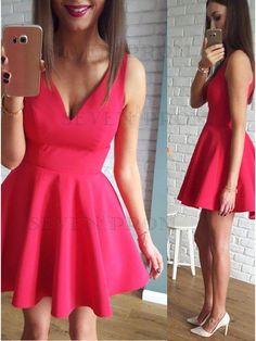 A-Line V-Neck Red Short Satin Homecoming Dress with Ruched Dresses Short, Dressy Dresses, Dance Dresses, Sexy Dresses, Fashion Dresses, Simple Party Dress, Simple Dresses, Homecoming Dresses, Bridesmaid Dresses