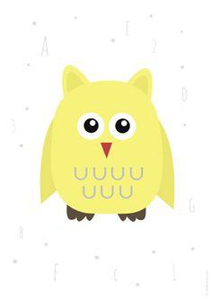 Plakat z żółtą sową Pikachu, Fictional Characters, Fantasy Characters