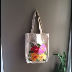 """Awesome LARGE tote bag with fantastic flowers! You could not own a more happy tote bag!  This is approximately 18"""" x 14""""& 14"""" straps in great condition. Small damage inside pocket. There are two and one has some loose stitching on the corner edge. Does not effect anything . Vintage Bags Totes"""