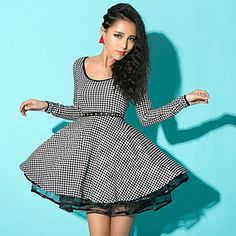 Womens Houndstooth Studded Waist Skater Dress