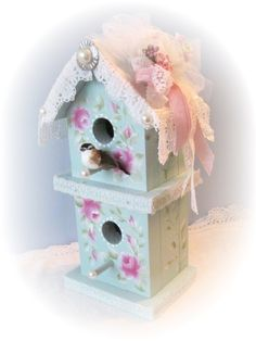 Aqua/Robins Egg Blue BIRDHOUSE Shabby Cottage by RoseChicFriends