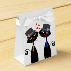 A fun favor box for a Gay couples wedding reception with two cool cats in top hat and ties representing the two grooms and sweet red love hearts in between them. Remember to customize it with your names, message or text of your choice at no extra charge'