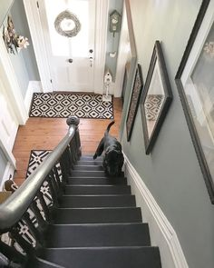 When your dog matches your decor! If you don't look close enough you might miss Sammie. Wall colour is Piedmont gray by Benjamin Moore. Black Staircase, Staircase Design, Stair Design, Painted Staircases, Painted Stairs, Hallway Colours, Wall Colors, Paint Colors, Old Home Renovation