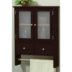 wall cabinet with drawers and towel bar $70