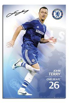 Chelsea FC 2013 - 2014 John Terry Poster Football Icon, Football Gear, Soccer Gear, Soccer Shop, Chelsea Blue, Chelsea Fc, England National Team, John Terry, Soccer Poster