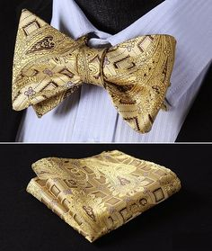 Gold Brown Paisley Bow Tie with Square.jpg