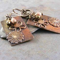 #brass #rivets #flower #earrings #jewelry