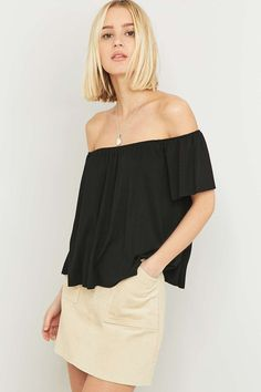Shop Light Before Dark Off-The-Shoulder Top at Urban Outfitters today. Urban Outfitters, Off Shoulder Blouse, Off The Shoulder, Cold Shoulder, Uni Outfits, New Chic, Color Negra, Mannequin, Short Sleeves
