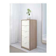 ASKVOLL 5-drawer chest, white stained oak effect, white white stained oak effect/white 17 3/4x42 7/8