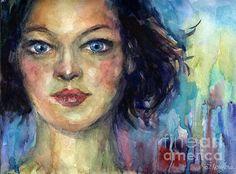 Contemporary watercolor woman portrait painting by Svetlana Novikova, www.SvetlanaNovikova.com