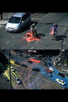 Pour paint all over the street, watch the art of traffic. Best prank
