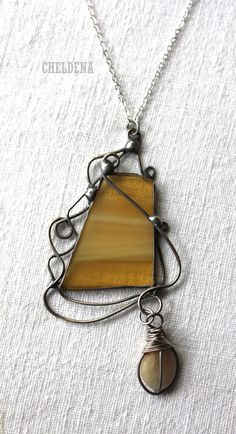 SALE Stained Glass Pendant Necklace in Lemon Hues - Unique Artisan Jewelry